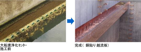 施工前と施工後(銅貼り越流板2)
